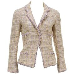 Preowned Chanel Pink Multicolor Knit Fringe One Button Jacket 04p... (106,415 PHP) ❤ liked on Polyvore featuring outerwear, jackets, pink, pink jacket, fringe jackets, chanel jacket, pastel pink jacket and colorful jackets