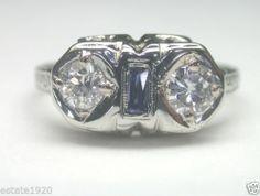 ANTIQUE ART DECO DIAMOND FILIGREE ENGAGEMENT RING  CIRCA ~ 1930'S 2 DIAMONDS ~ ROUND BRILLIANT SIZE ~ .50CT COLOR ~ E - F CLARITY ~ SI 1 FINGER SIZE ~ 6 (SIZABLE) U.S.A. & CANADA