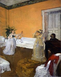 The Song Rehearsal, c.1872/73 | Hilaire Germain Edgar Degas | the subject is not the music but the activity of the rehearsal. Perspectives and gestures highlight the duet relation. Pianist is depicted in the act of turning contrast with the high lined precision of the door