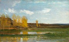 """https://www.facebook.com/MiaFeigelson """"Les Marais d'Optevoz"""" (1857) By Charles-François Daubigny, from Paris (1817 - 1878) - oil on canvas; 63 x 100 cm; 24 13/16 x 39 5/16 in - © Stoppenbach & Delestre Ltd., London - Dealers in French 19th and 20th century art http://www.artfrancais.com/"""