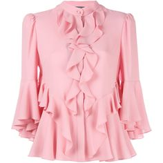 Alexander McQueen ruffled blouse ($1,860) ❤ liked on Polyvore featuring tops, blouses, pink, pink ruffle blouse, pink silk top, 3/4 sleeve blouse, 3/4 sleeve silk blouse and pink blouse