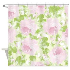 Cute,digital,water paint,pink,roses Shower Curtain