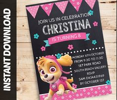 Paw patrol girl party, Personalised paw patrol invitation, paw patrol nickelodeon,  paw patrol invitation girl, Instant Download Editable.