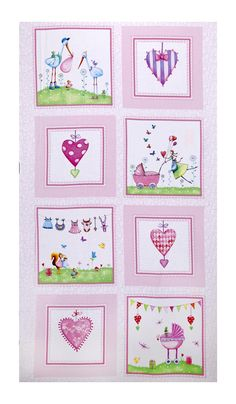 """A Bundle of Pink 24"""" Panel Pink from @fabricdotcom  Designed by Mila Marquis for Red Rooster Fabrics, this cotton print panel features playful baby scenes and patterned hearts for a fabric full of love! Perfect for quilting, apparel and home decor accents. It measures approximately 44"""" x 24"""". Colors include white, shades of pink and red, purple, lavender, shades of blue and green, orange, yellow, shades of brown and coral."""