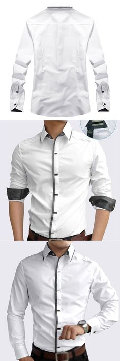 2017 NEW New Spring Autumn Cotton Dress Shirts High Quality Mens Casual Shirt Men Slim Fit Social Shirts white