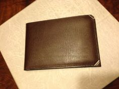 leather wallet with metal corners and original box