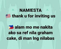 Americans vs Filipinos Filipino meme © Dyosa Pockoh Hugot Lines Tagalog Funny, Tagalog Quotes Hugot Funny, Hugot Quotes, Memes Pinoy, Memes Tagalog, Filipino Quotes, Filipino Funny, Funny Disney Jokes, Funny Jokes