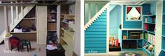 #DIY_Basement under stairs nook: before & after.