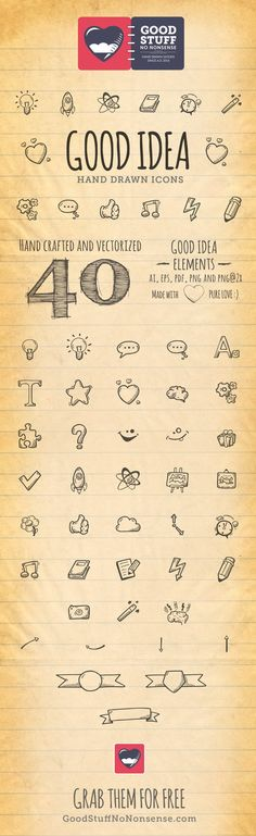40 Hand Drawn Vector Elements. This is a special set available only for my newsletter subscribers. Hopefully this free icons will help …