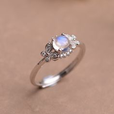 Classic Brilliant Natural Round Blue Moonstone Dainty Women Ring in Sterling Silver [100378] - $85.99 : jewelsin.com