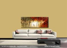 Forest Blooming Trees Landscape Painting Original by OsnatFineArt