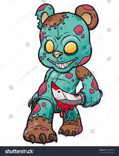 Vector illustration of Cartoon Evil teddy bear