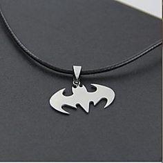 Halloween batman (batman) Black Leather Pendant Necklace(Silver) (1 Pc)