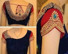 Saree blouse sleeves pattern design Latest Saree Blouse, Pattu Saree Blouse Designs, Bridal Blouse Designs, Saris, Silk Sarees, Cold Shoulder Saree Blouse, Sari Bluse, Stone Work Blouse, Stylish Blouse Design