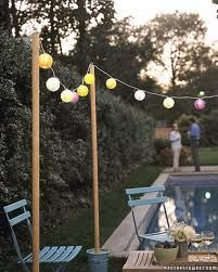 outdoor party ideas - Google Search. I like the way they put the lights on posts cemented in pots. Moveable!