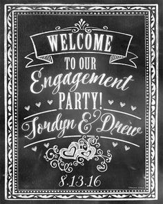 Welcome to our Engagement Party Sign Personalized by RockinChalk