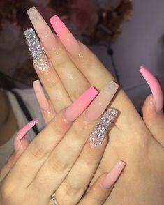 How to choose your fake nails? - My Nails Aycrlic Nails, Bling Nails, Swag Nails, Glitter Nails, Summer Acrylic Nails, Best Acrylic Nails, Summer Nails, Pastel Nails, Gorgeous Nails