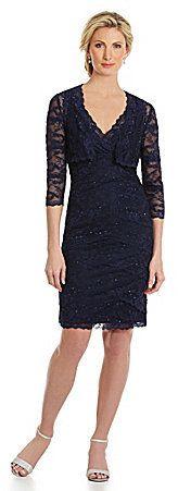 Marina Scalloped Lace Jacket Dress