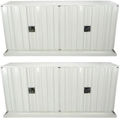 Pair Of Tommi Parzinger White Lacquer Cabinets | From a unique collection of antique and modern sideboards at http://www.1stdibs.com/furniture/storage-case-pieces/sideboards/