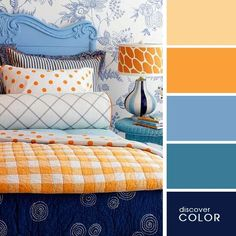 An interesting mix of designs and shades here! Dressing up a headboard doesn't have to spell doom for your wallet. Pep up a plain wood headboard with a fresh coat of paint. Be sure to sand and prime the headboard before you add color. Bedroom Orange, Bedroom Colors, Bedroom Decor, Bedroom Ideas, Orange Bedding, Design Bedroom, Blue Comforter, Bedroom Furniture, Budget Bedroom