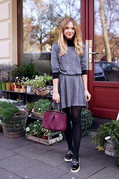 Discounter Kleid, Handtasche, Herbst