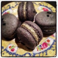 Black sesame macaron with sesame buttercream