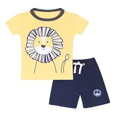e88f1d0b1b29 Neeseelily Baby Boy Short Sleeve T-Shirts and Shorts 2pcs Set Clothes  (Yellow