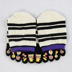 Five Toe Female Socks With Baby Bear And stripe Printing, In Tube Socks Alanstore
