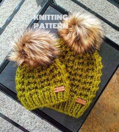 Knit Hat Pattern, Knitted Hat Pattern, Knit Beanie Pattern, Knit Pattern,  Knitted Beanie Pattern, Chunky Knit Hat Pattern, Chunky Knits Knitted Heart, Knitted Bags, Chunky Knits, Chunky Yarn, Knit Beanie Pattern, Knitting Patterns, Knitting Ideas, Winter Hats, My Etsy Shop