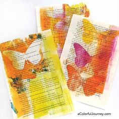 Making prints on the gelli plate....and not much closer to being packed up for the workshops I'm teaching at Artiscape...but I am having fun with the butterfly masks from @stencilgirl_products !  Links to the gelli printing workshops in the blog - link in