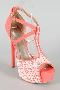 Light Coral Lace Pumps...without the platform in the sole, I would definitely rock these! :)