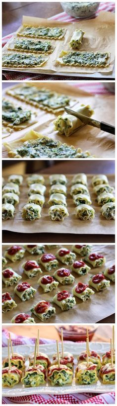 Mini Spinach Lasagna Roll Ups (sem espinafre) I Love Food, Good Food, Yummy Food, Delicious Dishes, Tasty, Spinach Lasagna Rolls, Spinach Pasta, Cooking Recipes, Healthy Recipes