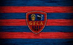 Download wallpapers Gazelec Ajaccio FC, 4k, Ligue 2, football, wooden texture, France, Gazelec Ajaccio, soccer, football club, Liga 2, FC Gazelec Ajaccio