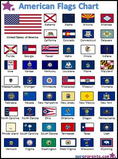 travel idea united states American Flags Chart: A colorful chart with the 50 United States Flags. Explore the history and geography of America with this free, printable chart showing the variety of flags of each of the fifty states. Us States Flags, States And Capitals, 50 States, States America, Us History, History Facts, History Of Flags, History Education, Teaching History
