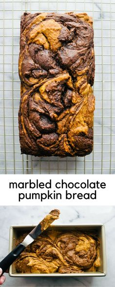 Marbled Chocolate Pumpkin Bread Recipe | This Healthy Table #bread #pumpkin #chocolatebread