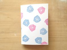 Mini Journal Hand Printed with Geometric Flower Pattern in Pink and Lilac, Handmade Recycled Journal