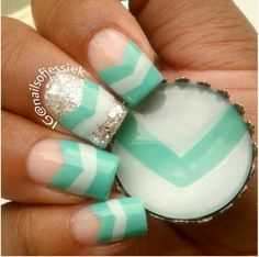 mint and white chevron. Changes I would make: -have all nails look the same            -have the chevron go all the way across the nail