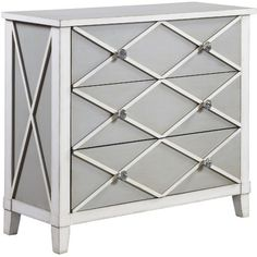 Refresh the master suite or living room with this stylish chest, showcasing lattice overlay and a gray and white finish.      Prod...