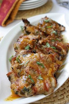 Grilled Chicken Thighs with Tamarind and Orange Glaze.