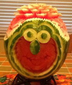 Watermelon Elmo Fruit Carving