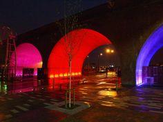 Glowing bridge arch