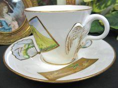 1875 BODLEY/ HOBSON BIRD HANDLE  TEA CUP AND SAUCER DUO