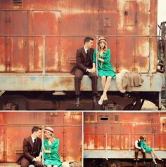 Vintage inspired engagement shoot with abandoned trains. <3