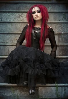 #Goth girl in lolita dress with #red hair