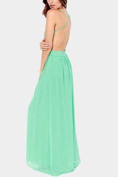 Light Green Backless Chiffon Maxi Dress #Light #Dress #maykool