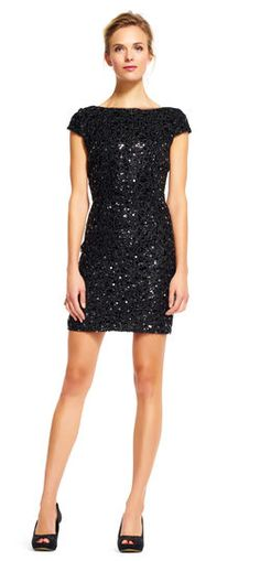 Adrianna Papell Short Sleeve Sequin Tail Dress Glittering Sequins Adorn This Party Perfect Featuring A Scoop Back