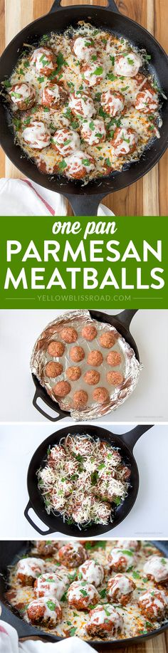 One Pan Parmesan Meatballs - Easy, delicious, homemade meatballs - Great weeknight dinner recipe