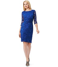 """Adrianna Papell Ruched LaceOverlay Sheath Dress #Dillards - $138, size 4-12, this color is called """"Nile"""". Love the lace too."""