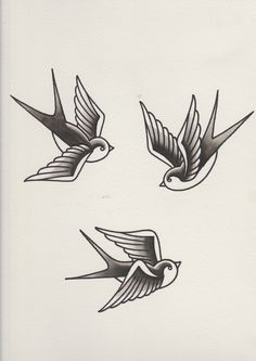 Swallows with black shading completed