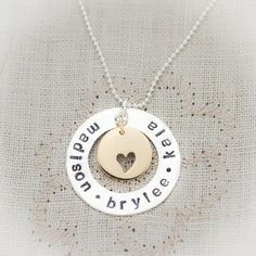 Sterling Silver and Bronze Hand Stamped Personalized Family Necklace. $44.95, via Etsy.